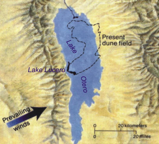 Map of Lake Lucero and Lake Otero - White Sands National Monument, New Mexico