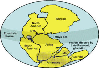 The supercontinent, Pangaea in latest Paleozoic time
